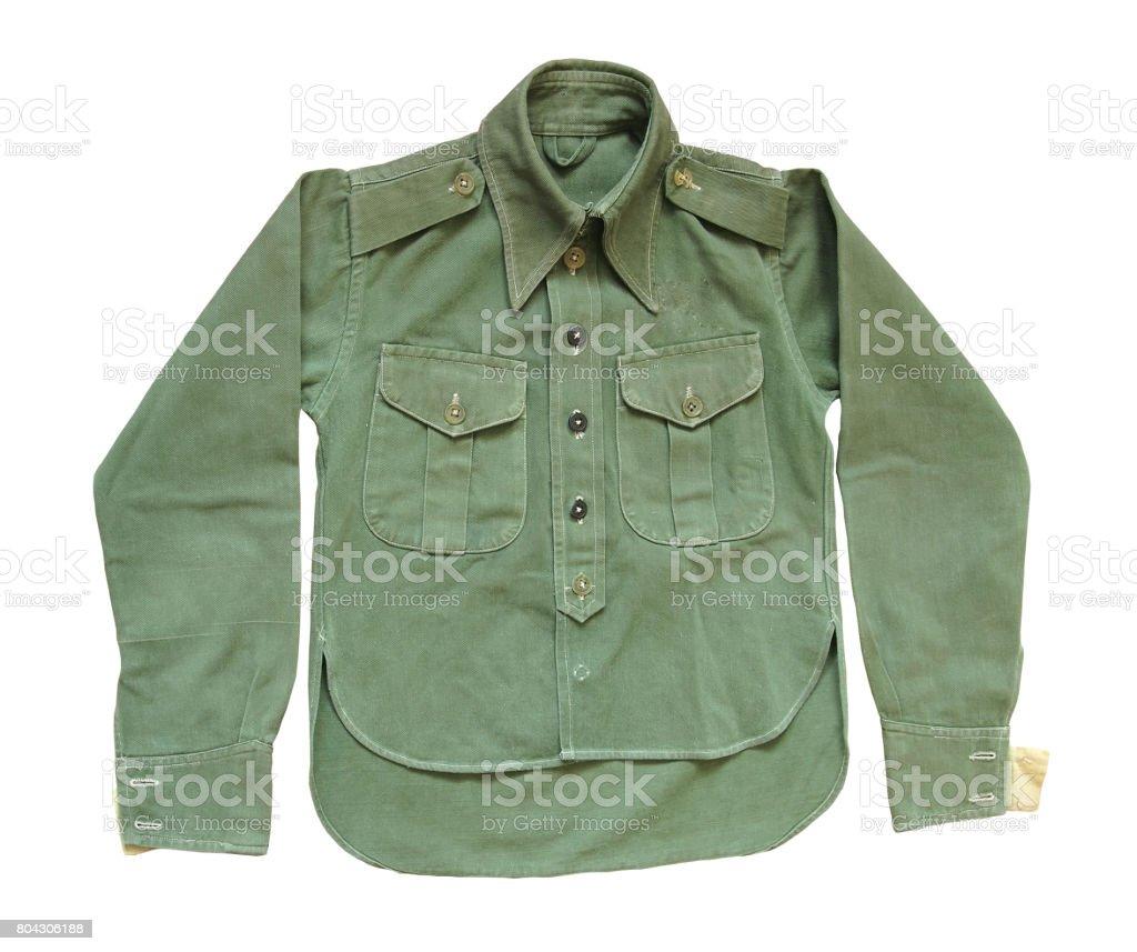 Vintage  green military long sleeve shirt stock photo