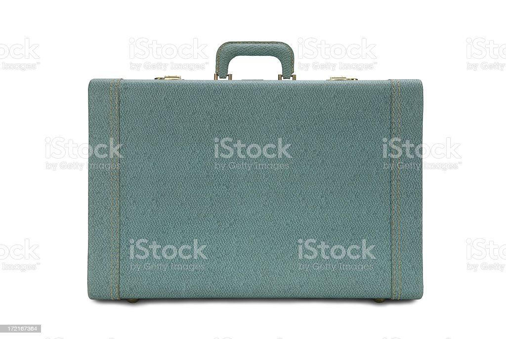 Vintage Green Suitcase stock photo