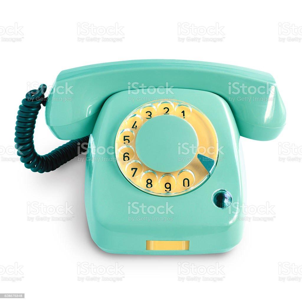 Vintage green telephone stock photo