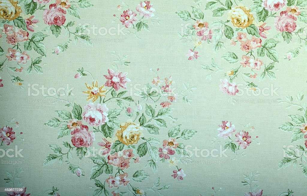 Vintage green wallpaper with floral pattern stock photo