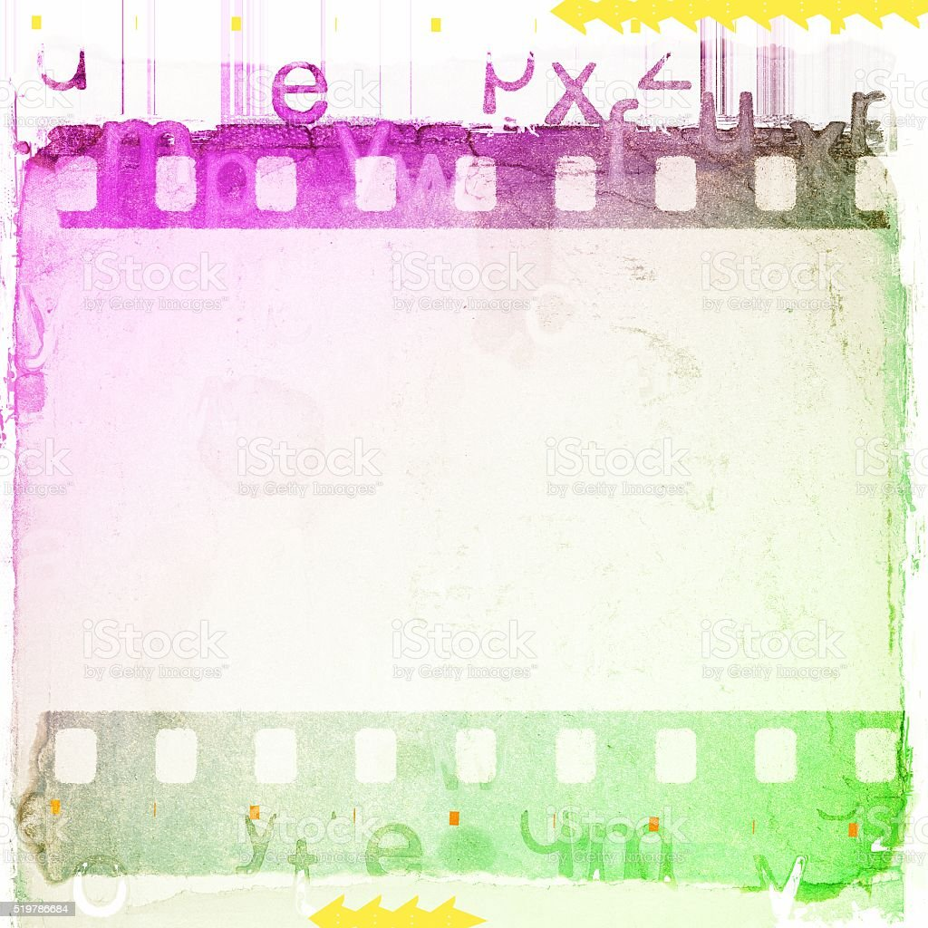 Vintage green, white and magenta  film strip frame background. stock photo