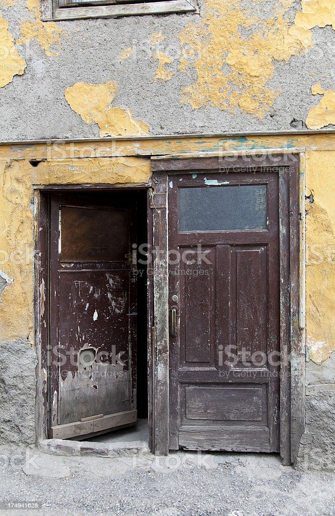 vintage green wooden door royalty-free stock photo