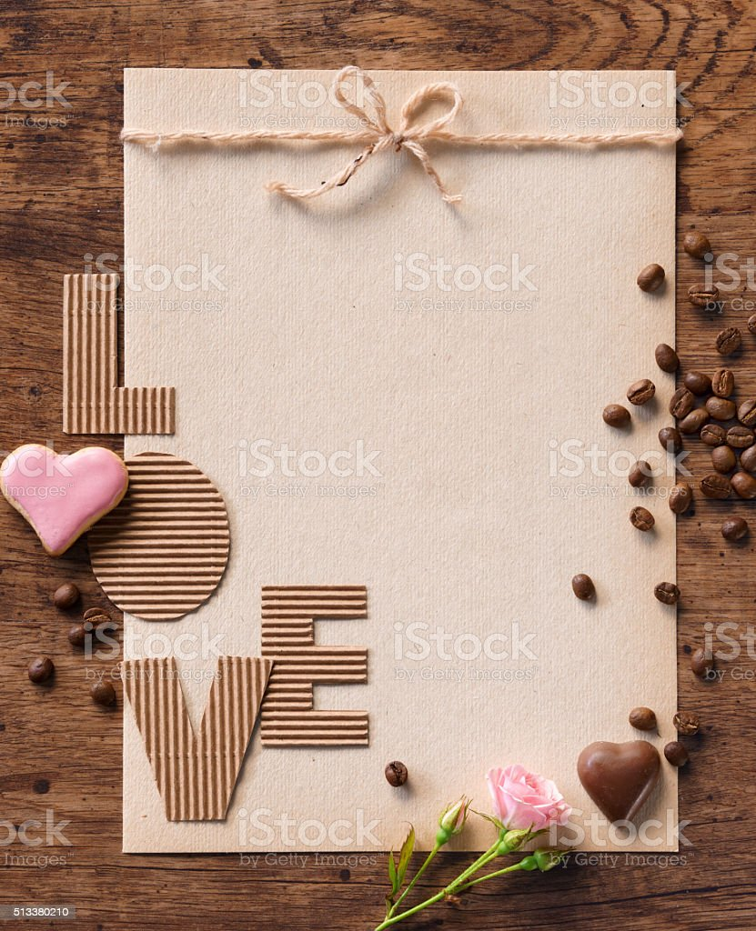 Vintage greeting card and 'LOVE' stock photo