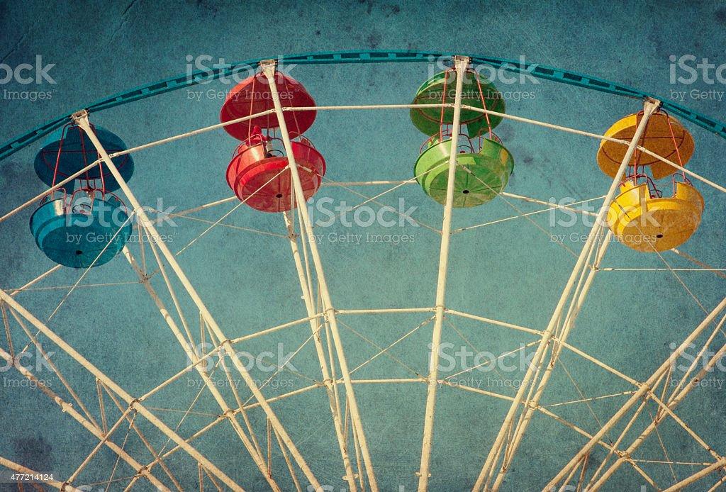 Vintage grunge background with ferris wheel stock photo