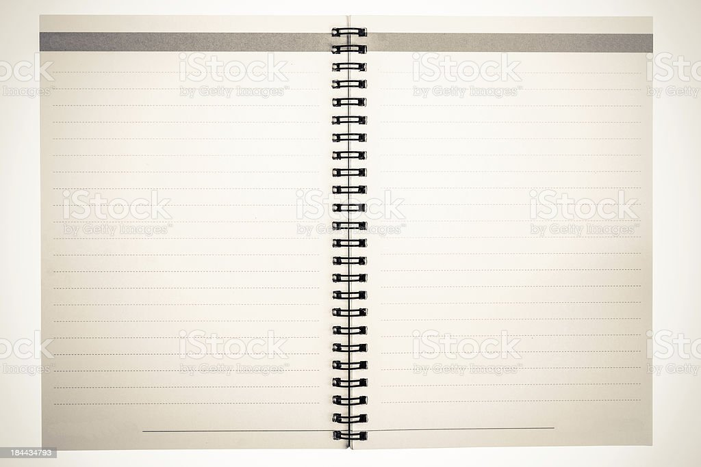 Vintage grungy lined notebook royalty-free stock photo