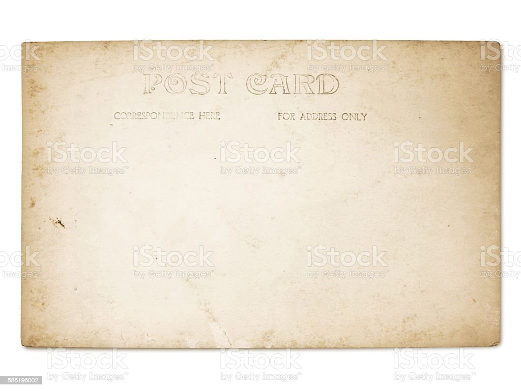 Vintage Grungy Postcard (with path) stock photo