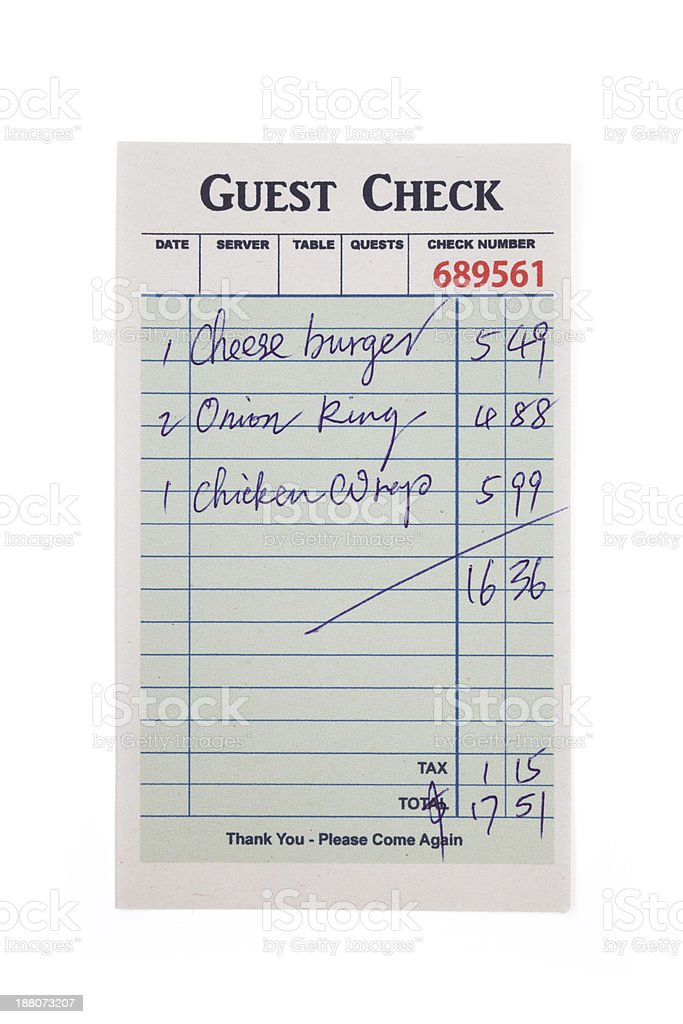 Vintage guest check with menu items and totals stock photo
