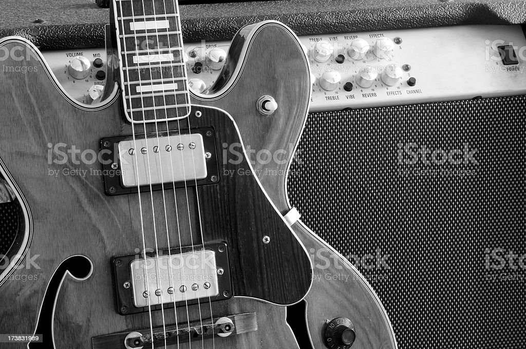 Vintage guitar and amp stock photo