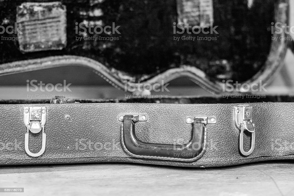 Vintage guitar case stock photo