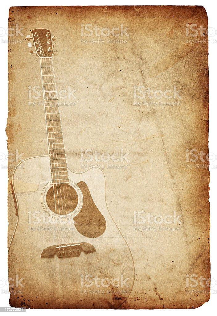 Vintage Guitar Paper XXXL royalty-free stock photo