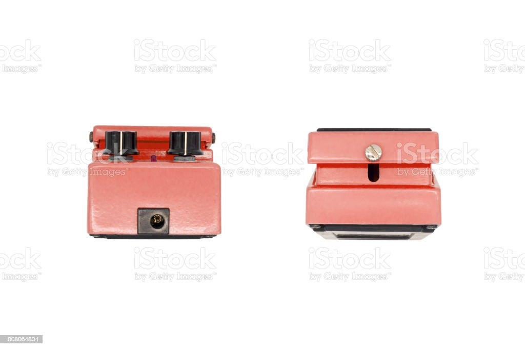 Vintage guitar pedal top and bottom side. stock photo