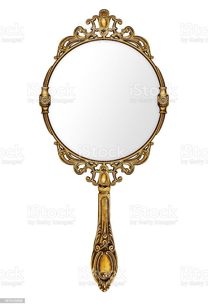 Vintage hand mirror stock photo