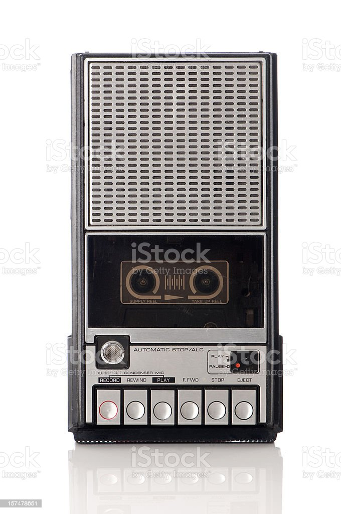 Vintage handheld tape recorder  stock photo