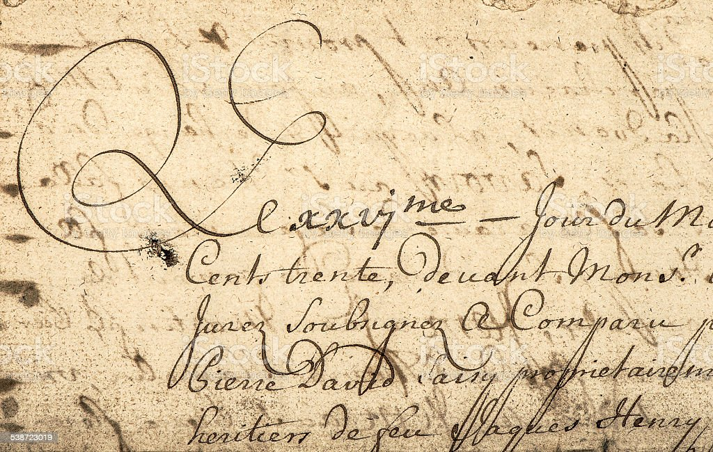 Vintage handwriting with latin text. Grunge paper background stock photo