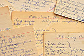 Vintage Handwritten Recipe Cards for Baked Desserts
