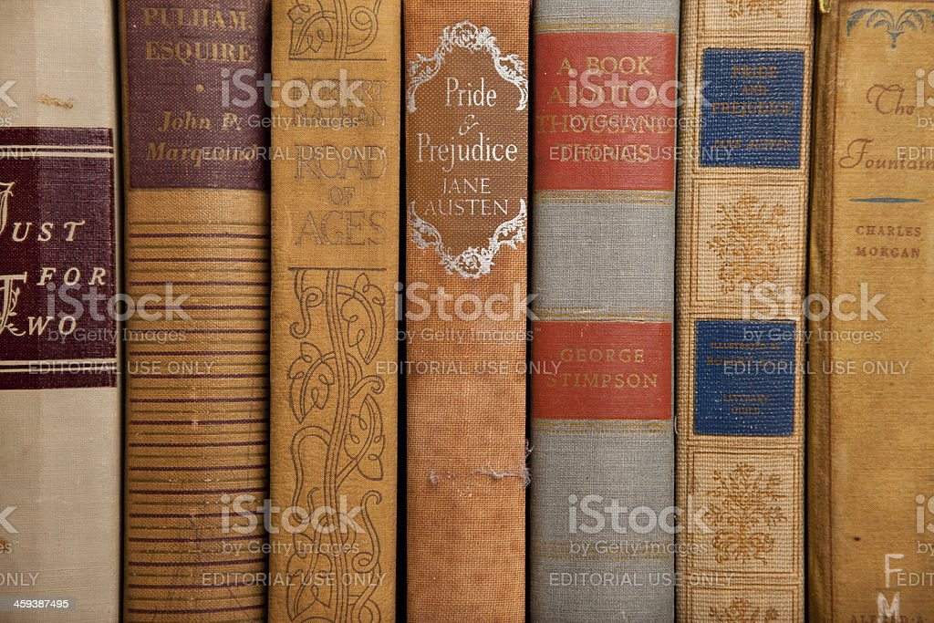Vintage Hardcover Books from Early 1900s royalty-free stock photo