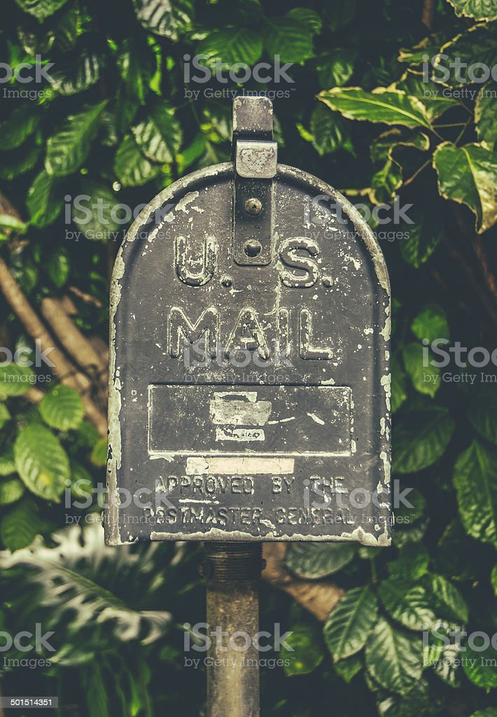 Vintage Hawaiian US Mail Box stock photo