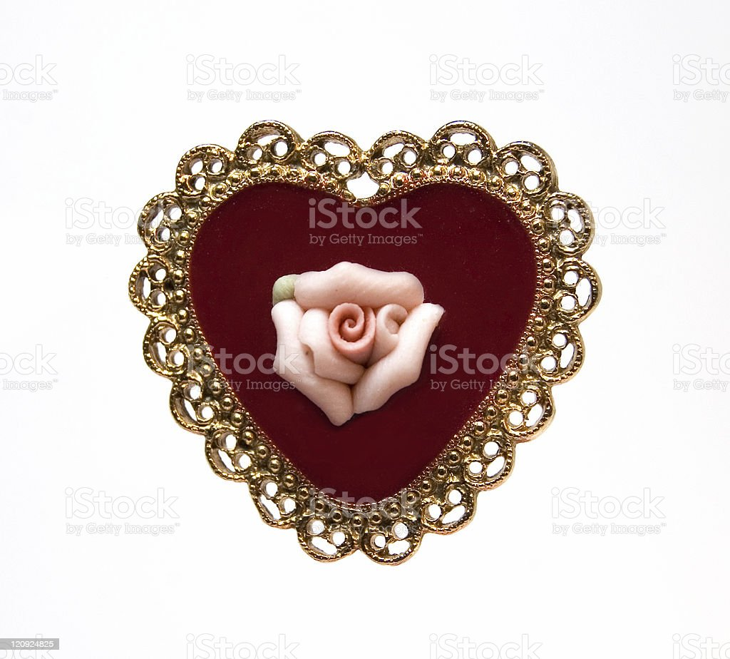 Vintage Heart and Rose Pin royalty-free stock photo