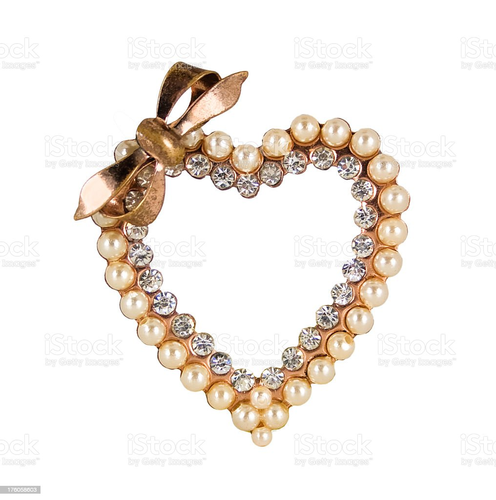 Vintage Heart Pin royalty-free stock photo
