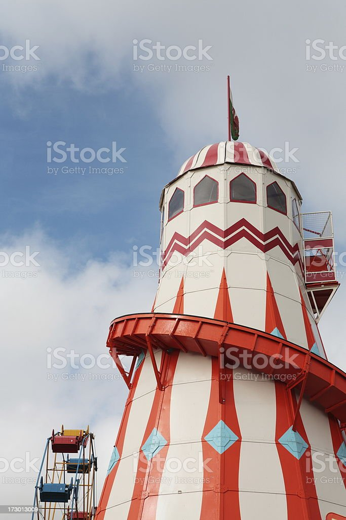 Vintage Helter-Skelter at Amusement Park royalty-free stock photo