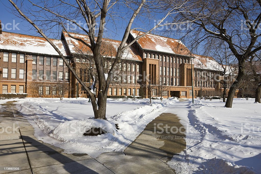 Vintage High School Building in Chicago stock photo