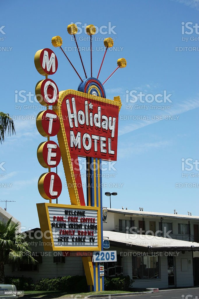 Vintage Holiday Motel Sign at La Vegas royalty-free stock photo