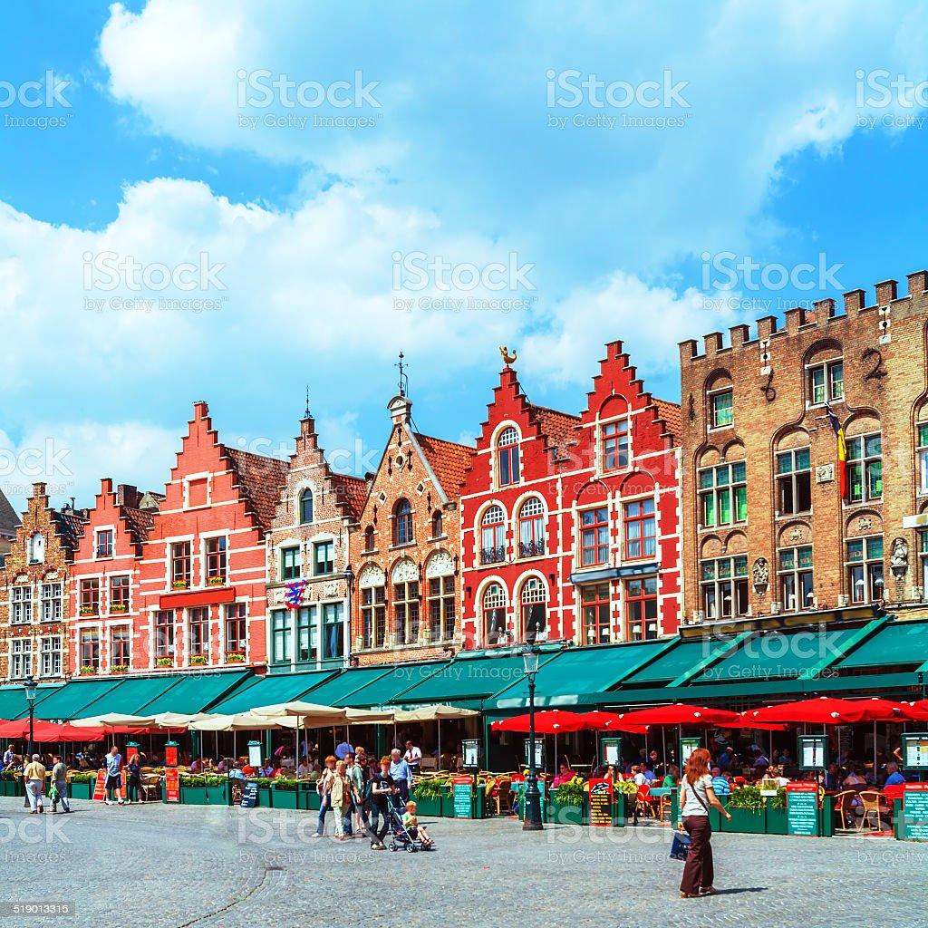 Vintage Homes on Market Square, Bruges stock photo