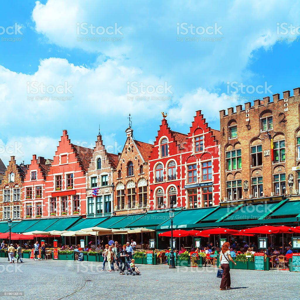 Vintage Homes on Market Square, Bruges stock photo