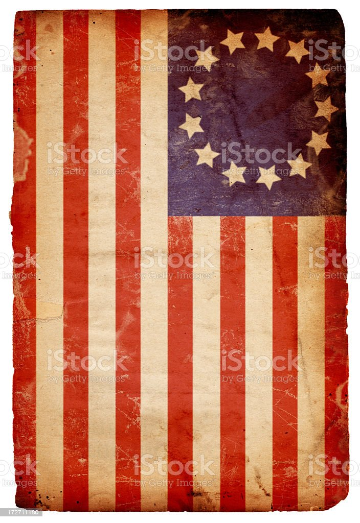 Vintage horizontal American flag background stock photo