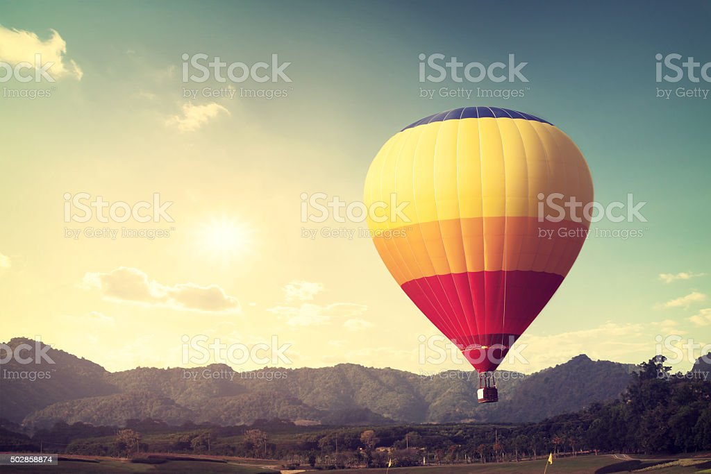Vintage Hot air balloon stock photo