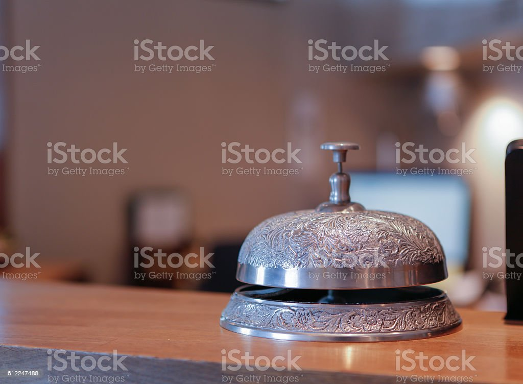 Vintage hotel bell stock photo