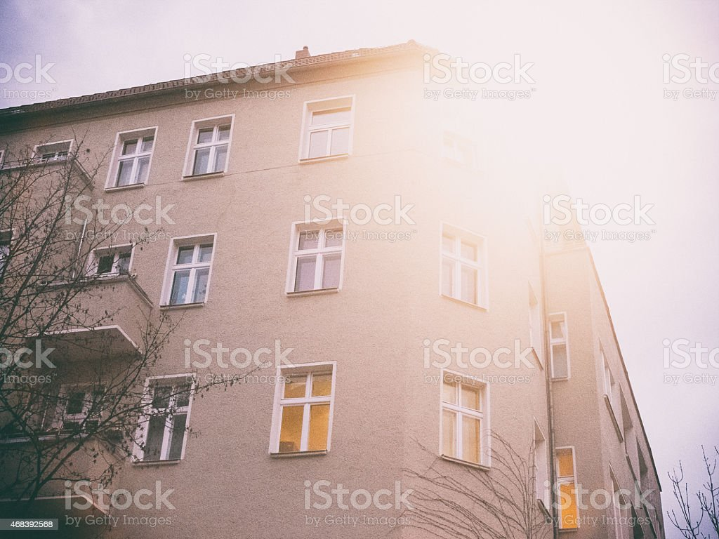 vintage house with sunlight stock photo