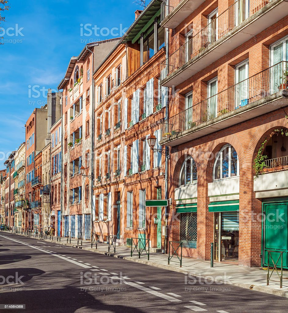 Vintage Houses from Red Bricks, Toulouse stock photo