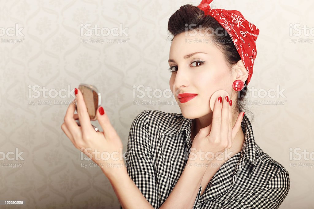 Vintage Housewife Makeup royalty-free stock photo