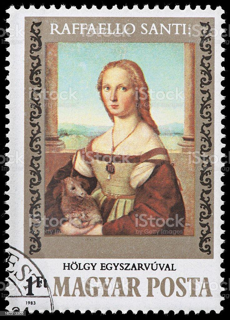 Vintage Hungarian Postage Stamp Depicting Raffaello Santi Painting stock photo