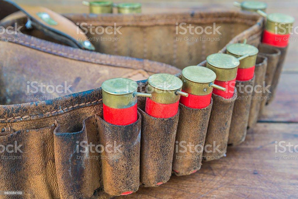 Vintage Hunter Cartridge Belt with vintage shotgun shells stock photo
