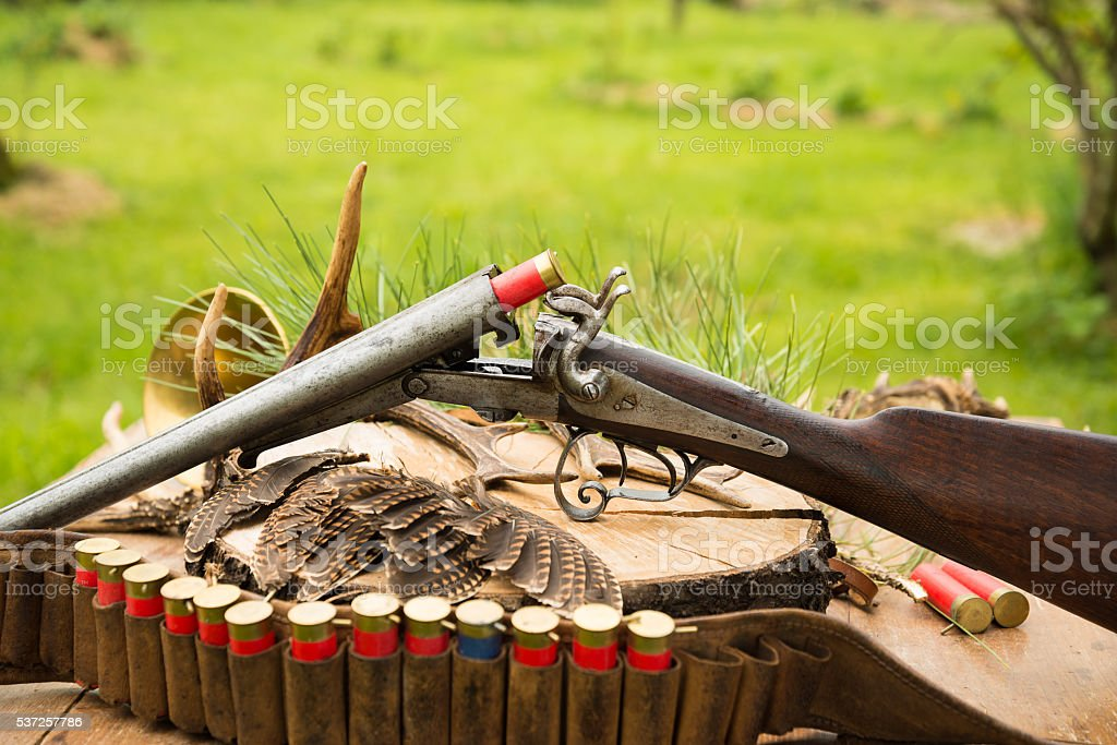 Very old hunting gun, hunting bag, bandoleer with cartridges stock photo