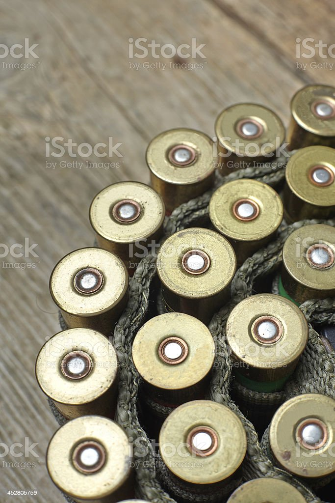 vintage hunting gun with shells stock photo