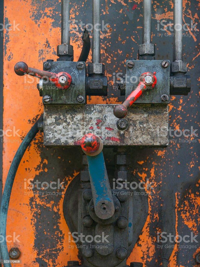 Vintage hydraulic system stock photo