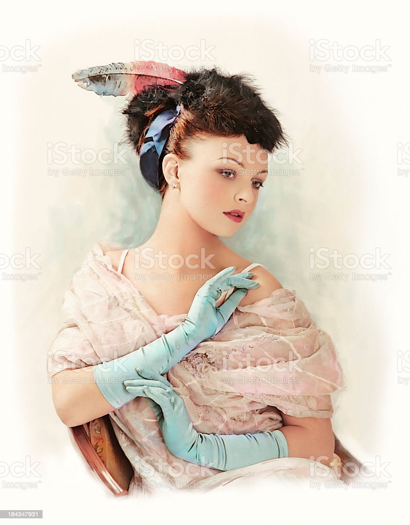 A vintage illustration of a Victorian woman stock photo
