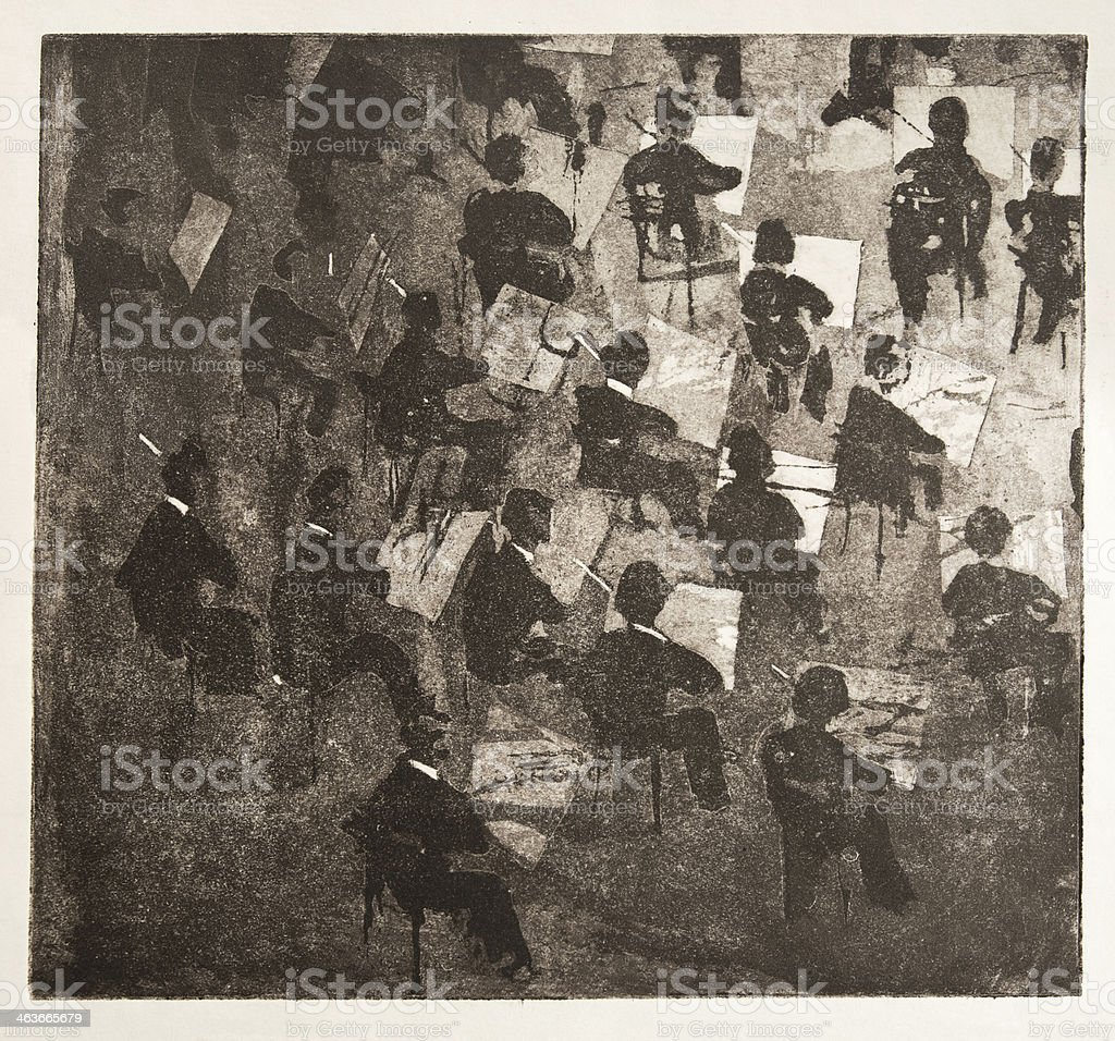 A vintage illustration of an orchestra royalty-free stock photo
