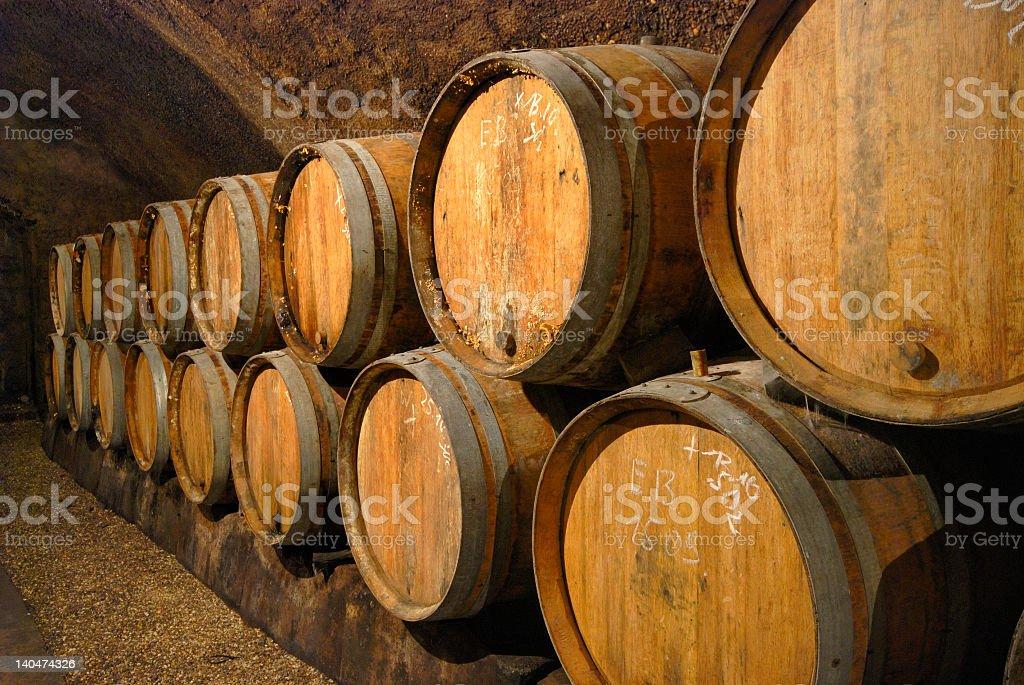 Vintage illustration of wine cellar with wooden barrels stock photo