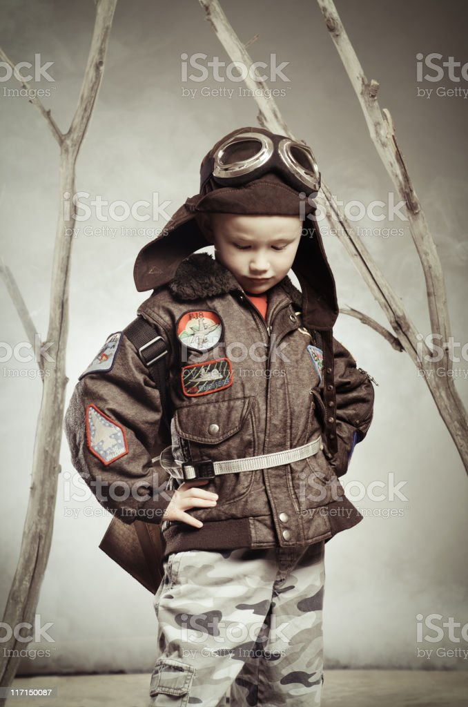 Vintage image of a child wearing flying gear stock photo
