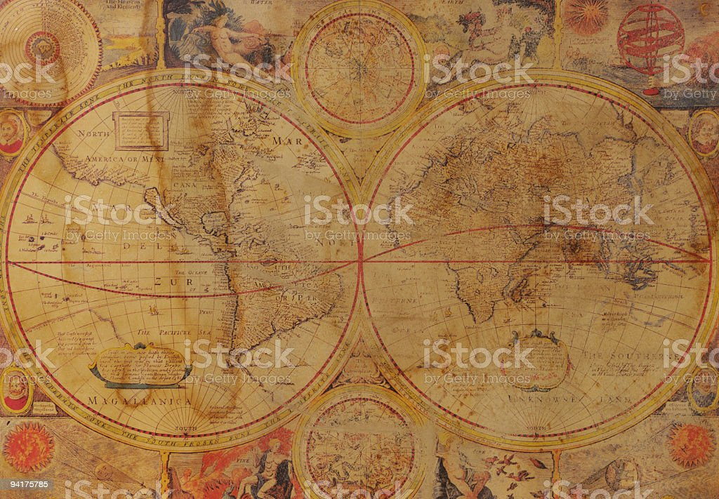 A vintage image of an old map of the world royalty-free stock photo