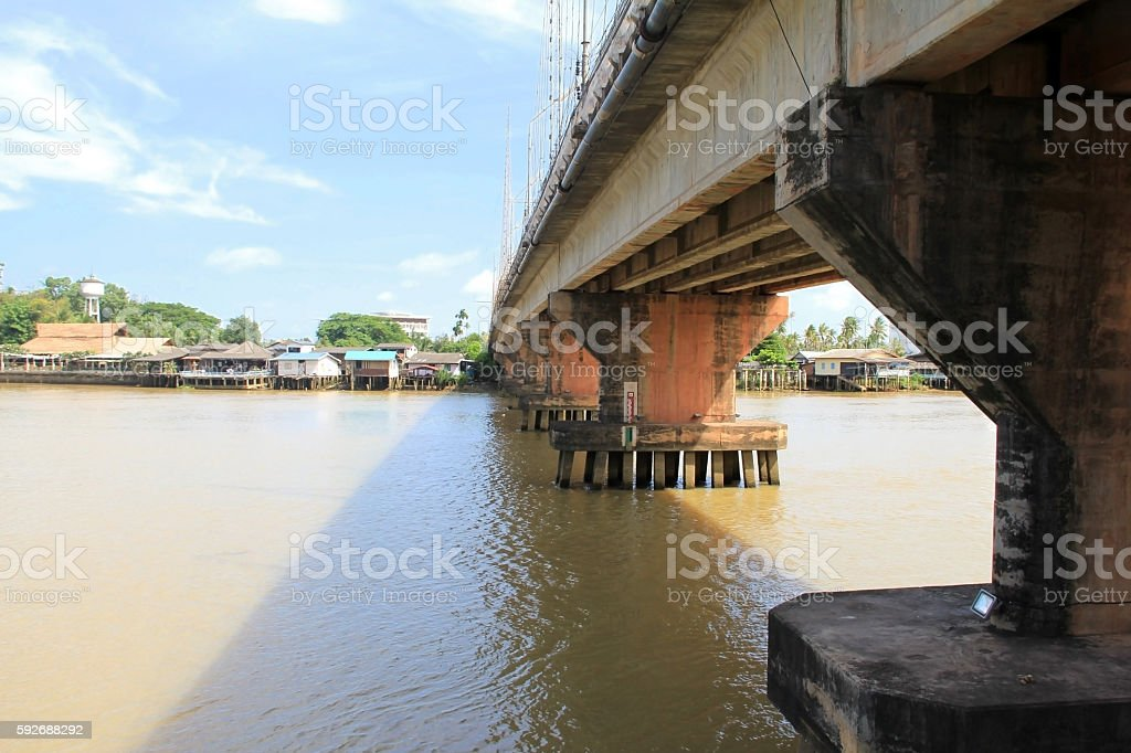 Vintage image of Cement bridge over the river. stock photo