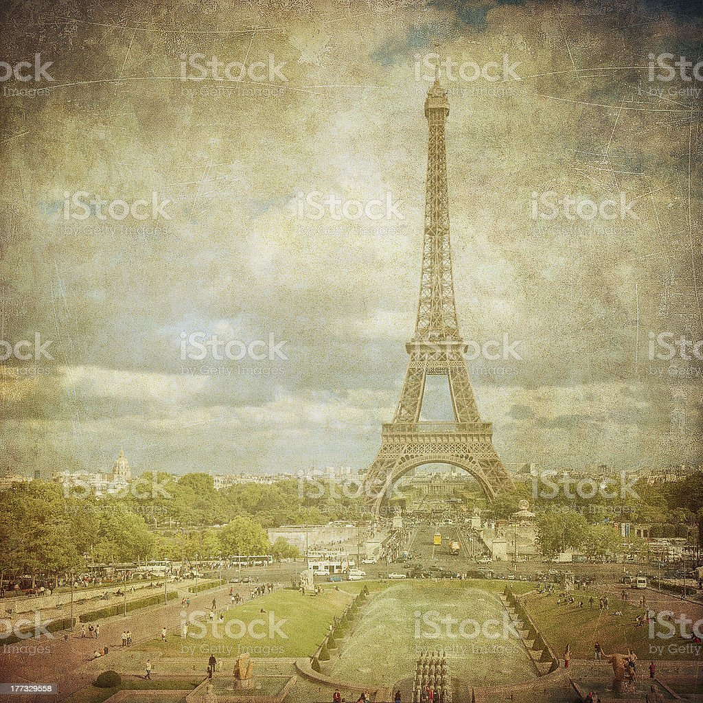 Vintage image of Eiffel tower, Paris, France royalty-free stock photo
