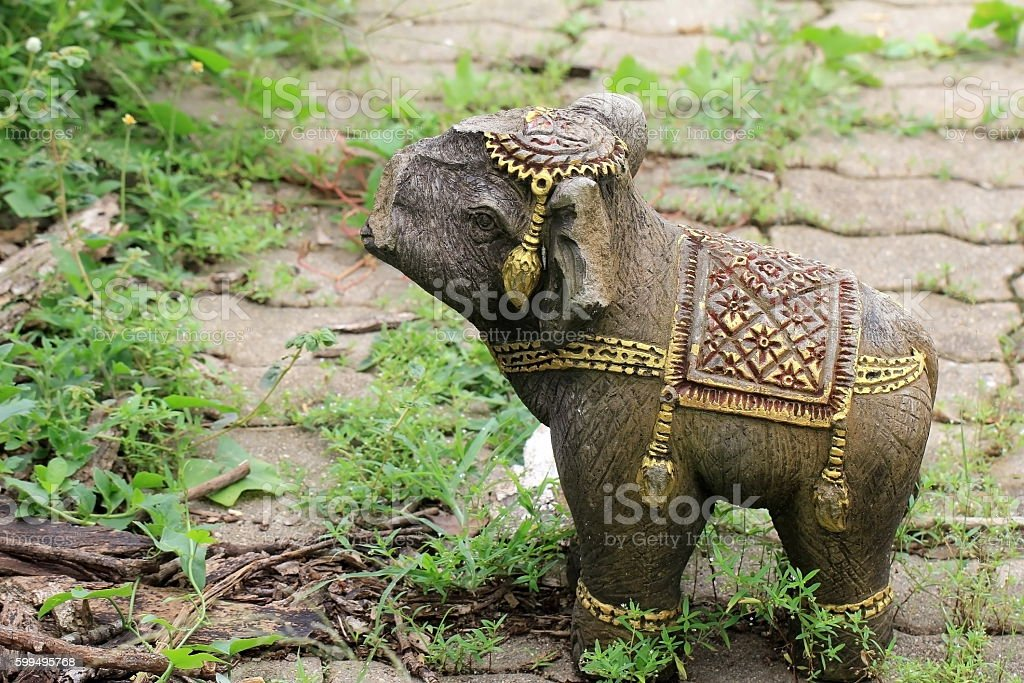 vintage image of elephant have not trunk. stock photo