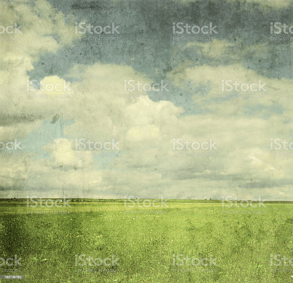 Vintage image of green field and blue sky stock photo