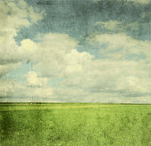 Vintage image of green field and blue sky