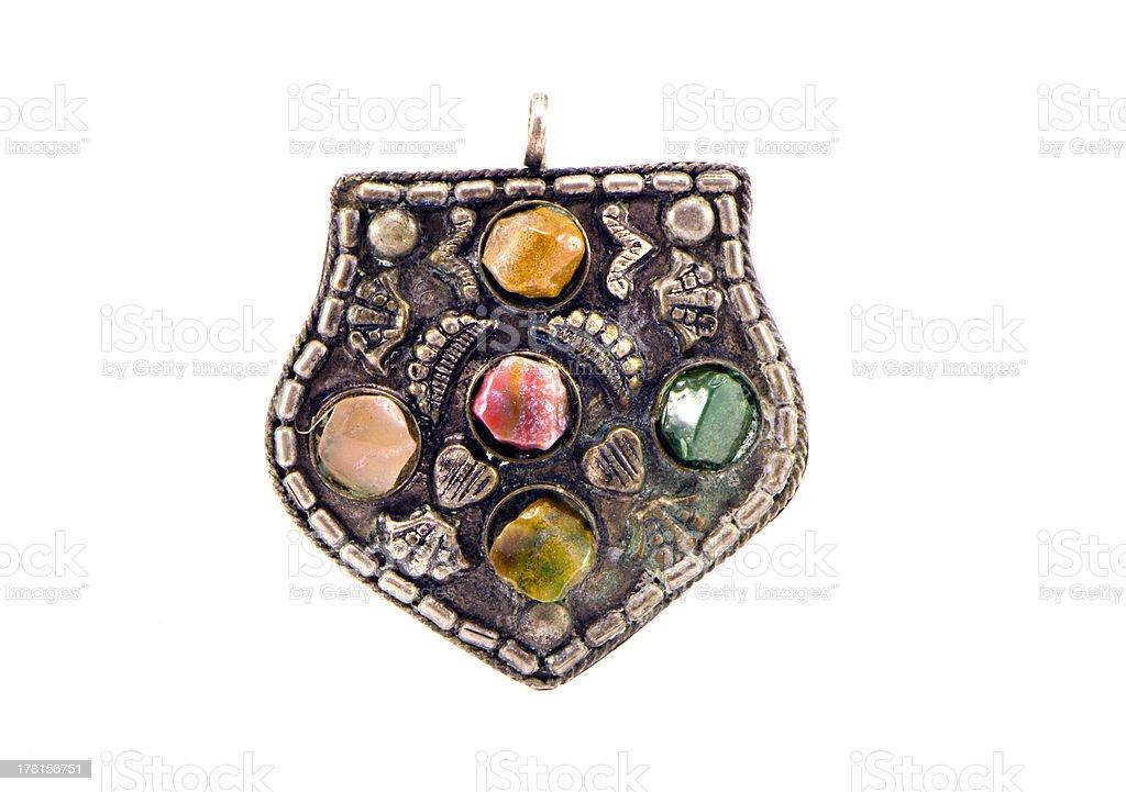 vintage indian pendant isolated on white royalty-free stock photo